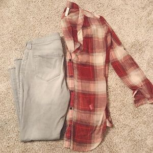 Sheer Plaid Long Button Up, Size S